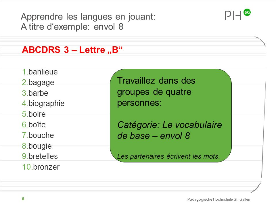 Apprendre les langues en jouant: A titre d'exemple: envol 8