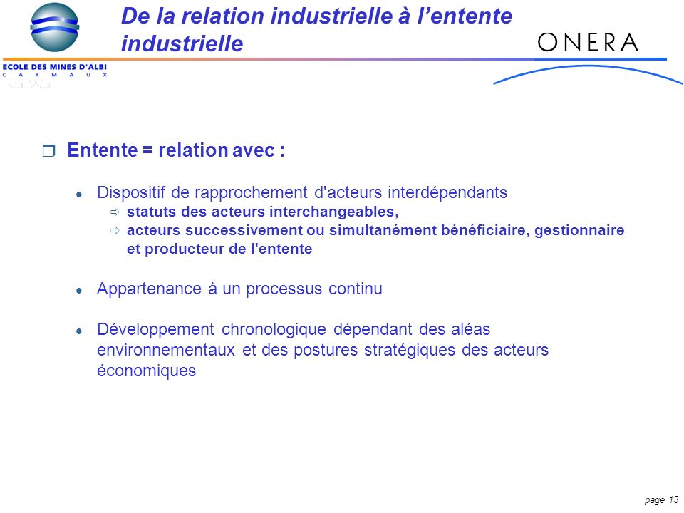 De la relation industrielle à l'entente industrielle