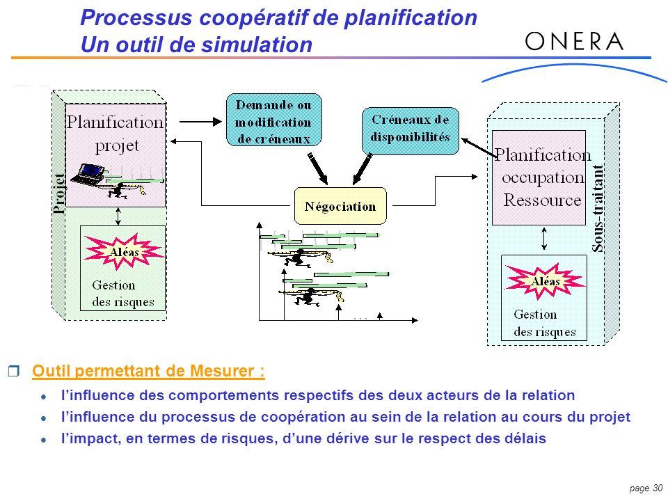 Processus coopératif de planification Un outil de simulation