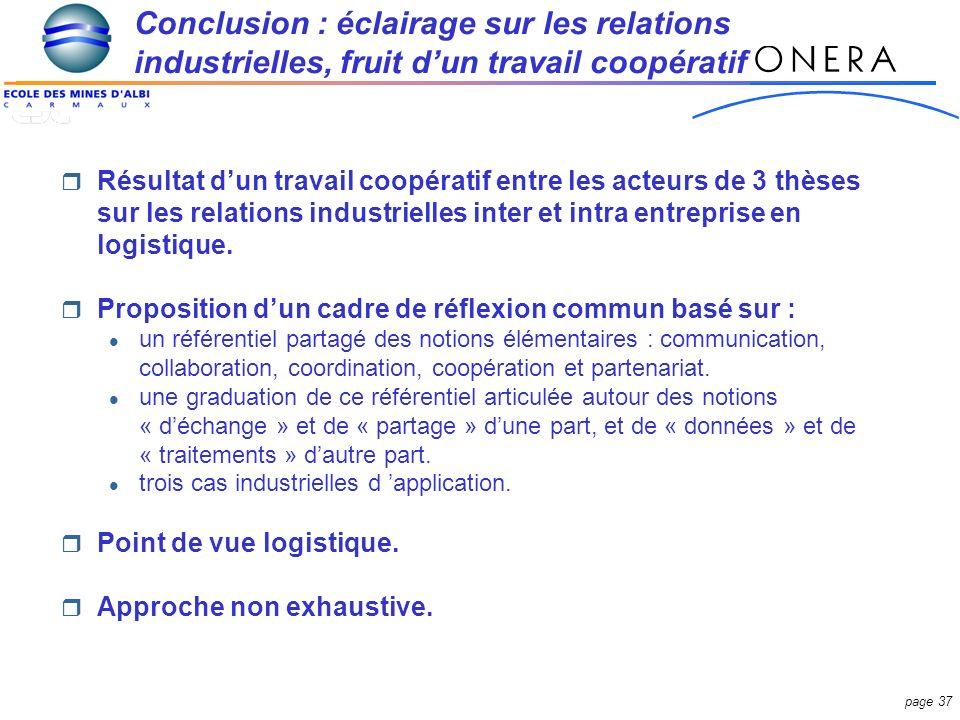 Conclusion : éclairage sur les relations industrielles, fruit d'un travail coopératif