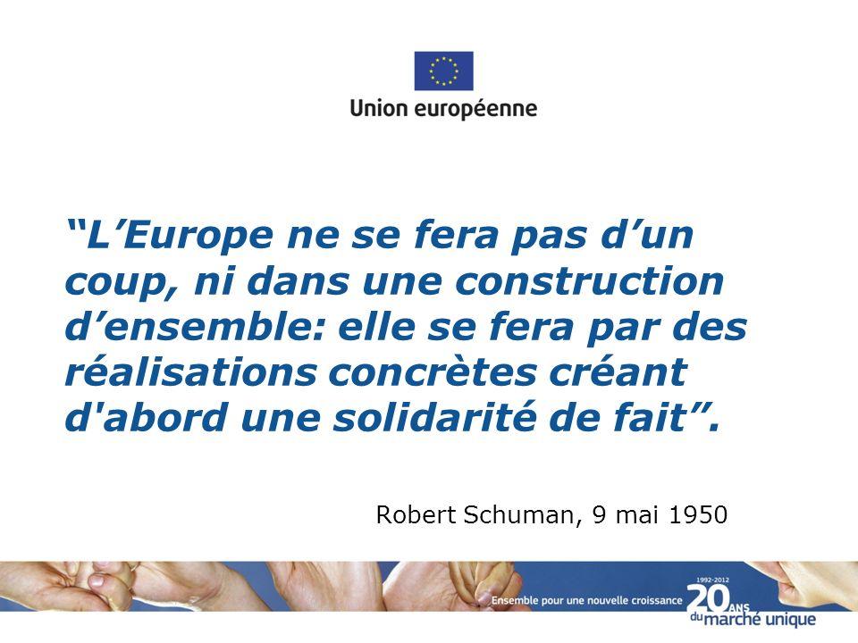 L'Europe ne se fera pas d'un coup, ni dans une construction d'ensemble: elle se fera par des réalisations concrètes créant d abord une solidarité de fait .