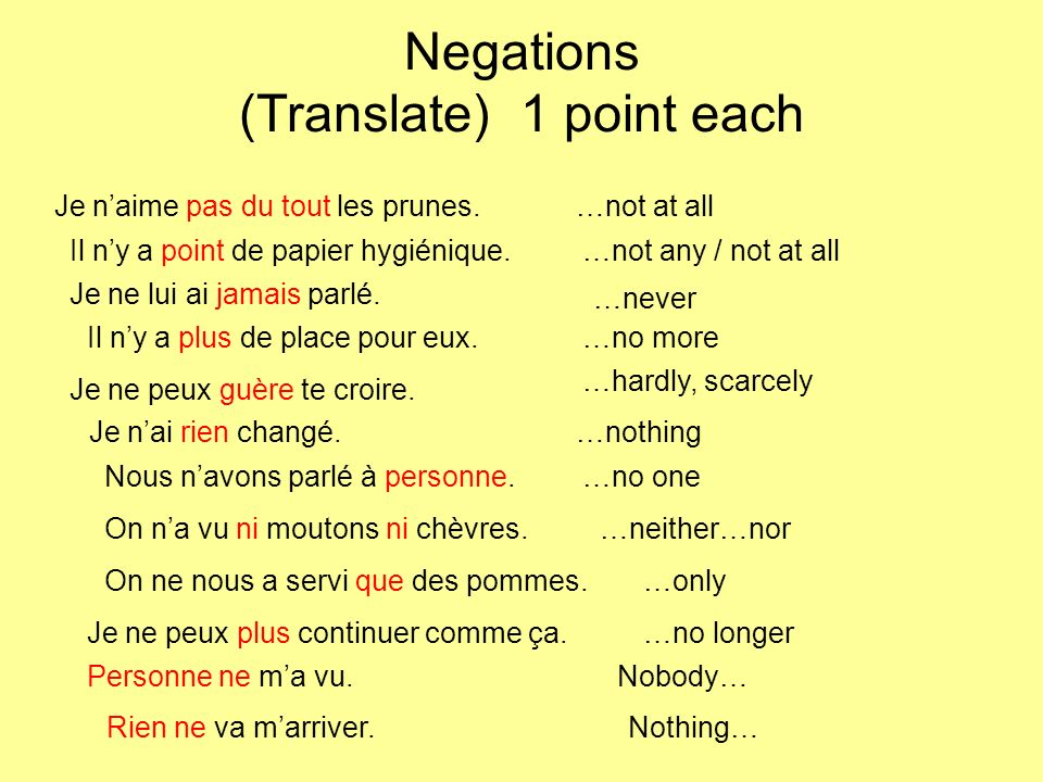 Negations (Translate) 1 point each