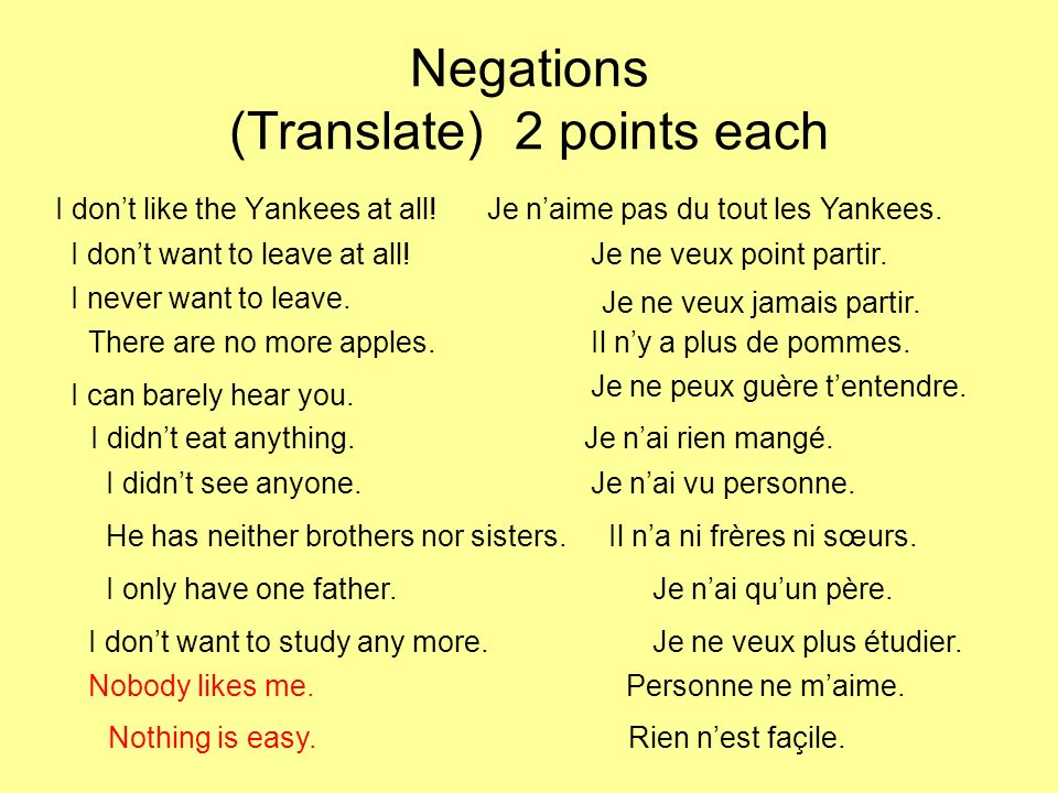 Negations (Translate) 2 points each