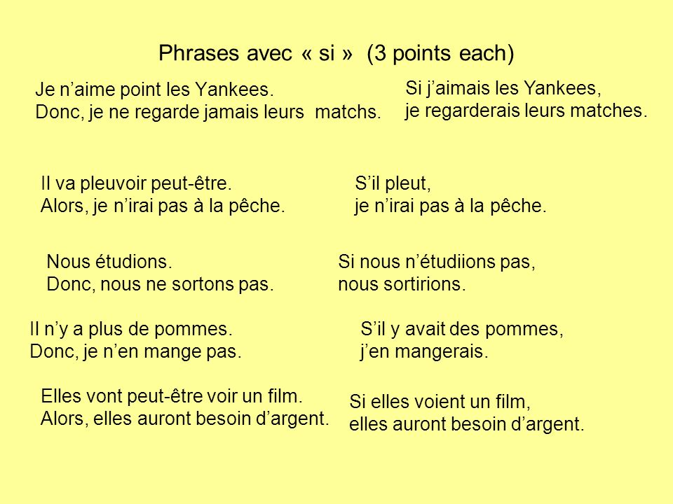 Phrases avec « si » (3 points each)