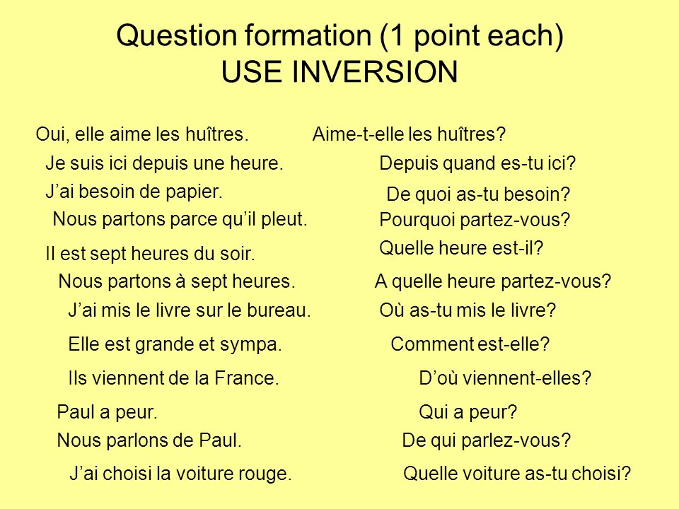 Question formation (1 point each) USE INVERSION