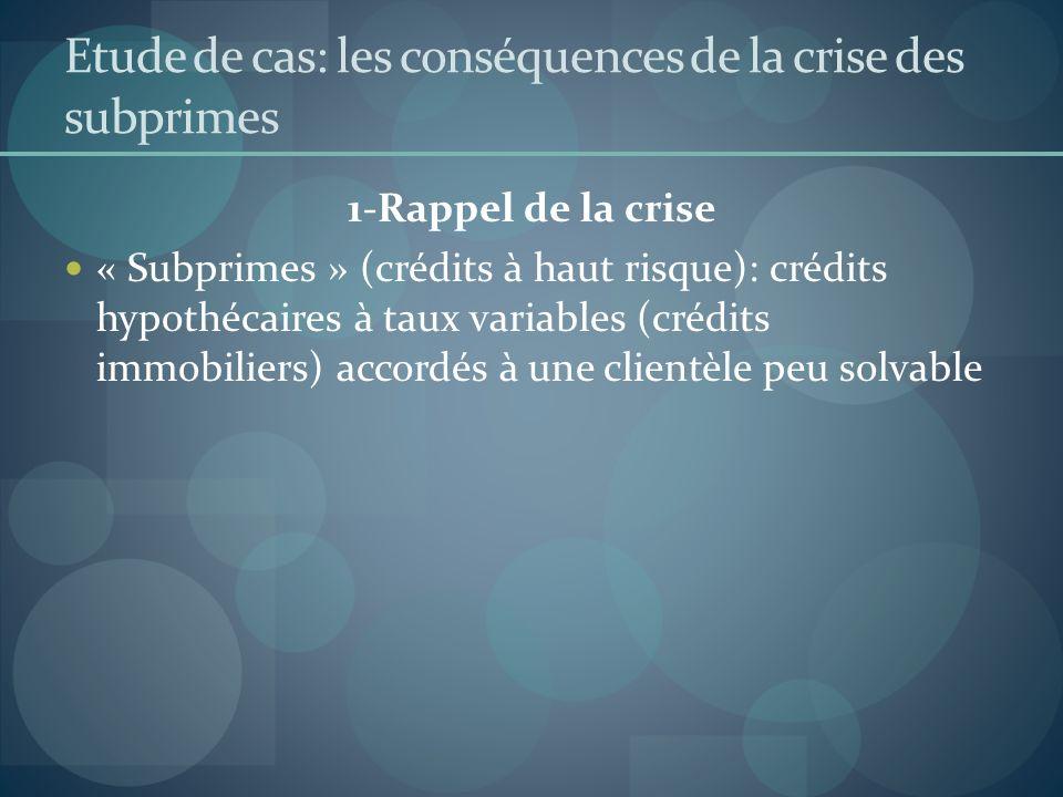 Etude de cas: les conséquences de la crise des subprimes