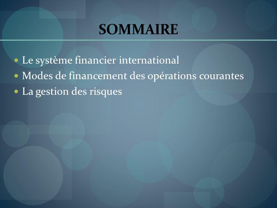 SOMMAIRE Le système financier international