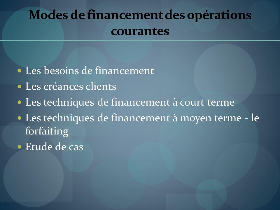Modes de financement des opérations courantes