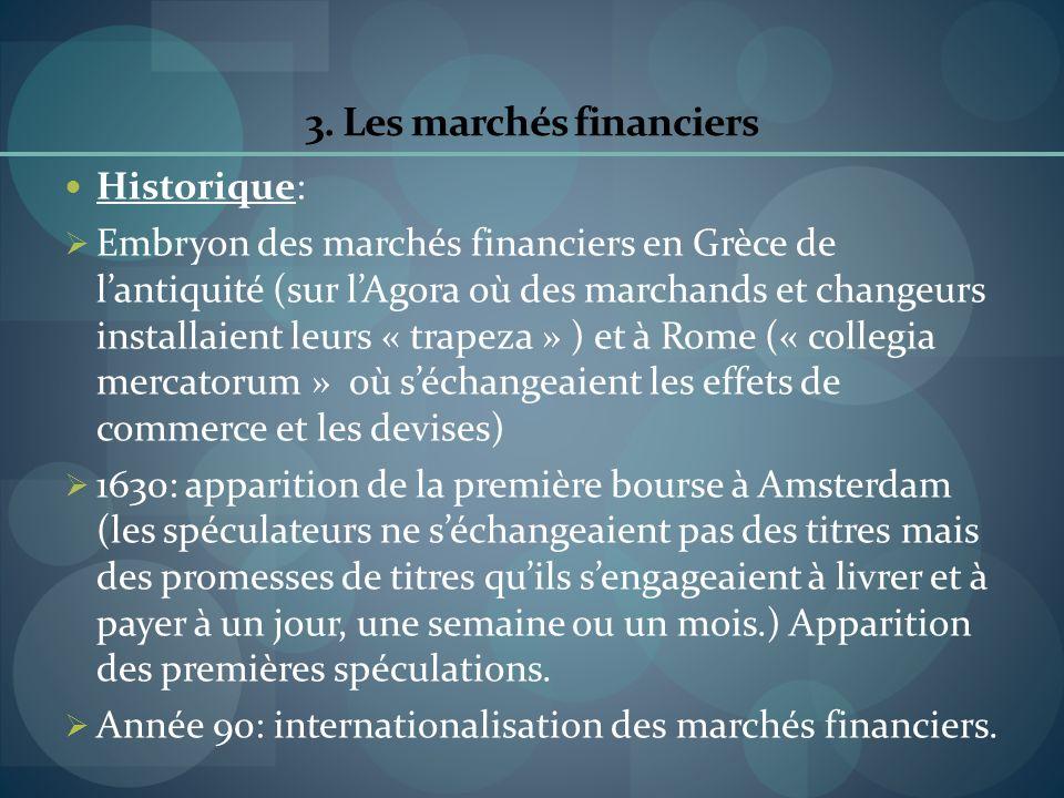 3. Les marchés financiers