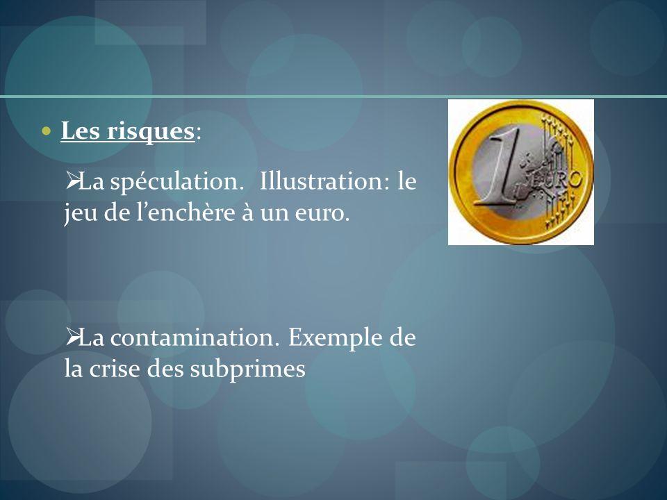 Les risques: La spéculation. Illustration: le jeu de l'enchère à un euro.
