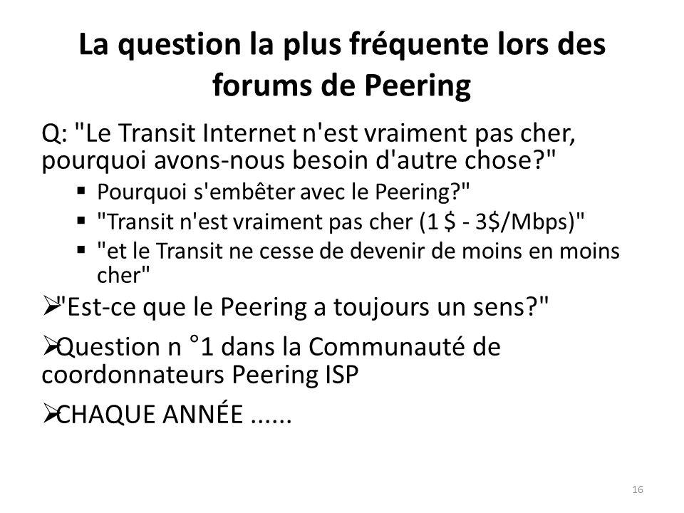 La question la plus fréquente lors des forums de Peering