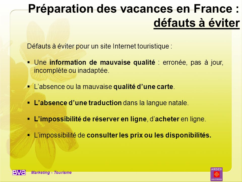 Préparation des vacances en France : défauts à éviter