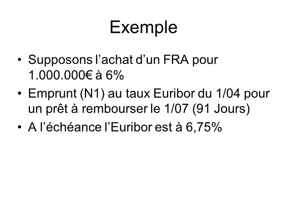 Exemple Supposons l'achat d'un FRA pour 1.000.000€ à 6%
