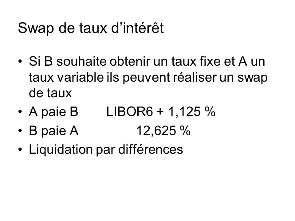 Swap de taux d'intérêt Si B souhaite obtenir un taux fixe et A un taux variable ils peuvent réaliser un swap de taux.