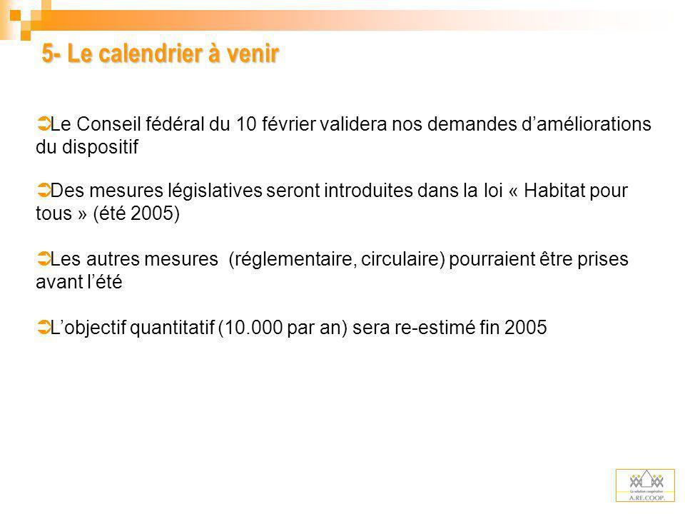 5- Le calendrier à venir Le Conseil fédéral du 10 février validera nos demandes d'améliorations du dispositif.