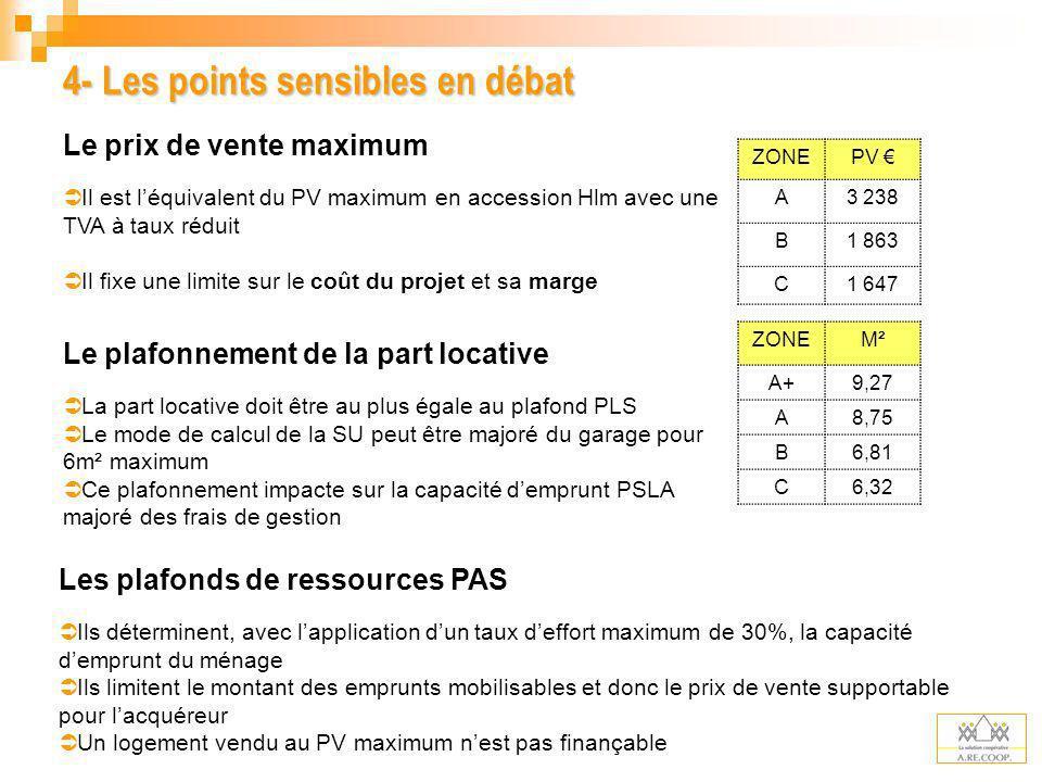 4- Les points sensibles en débat