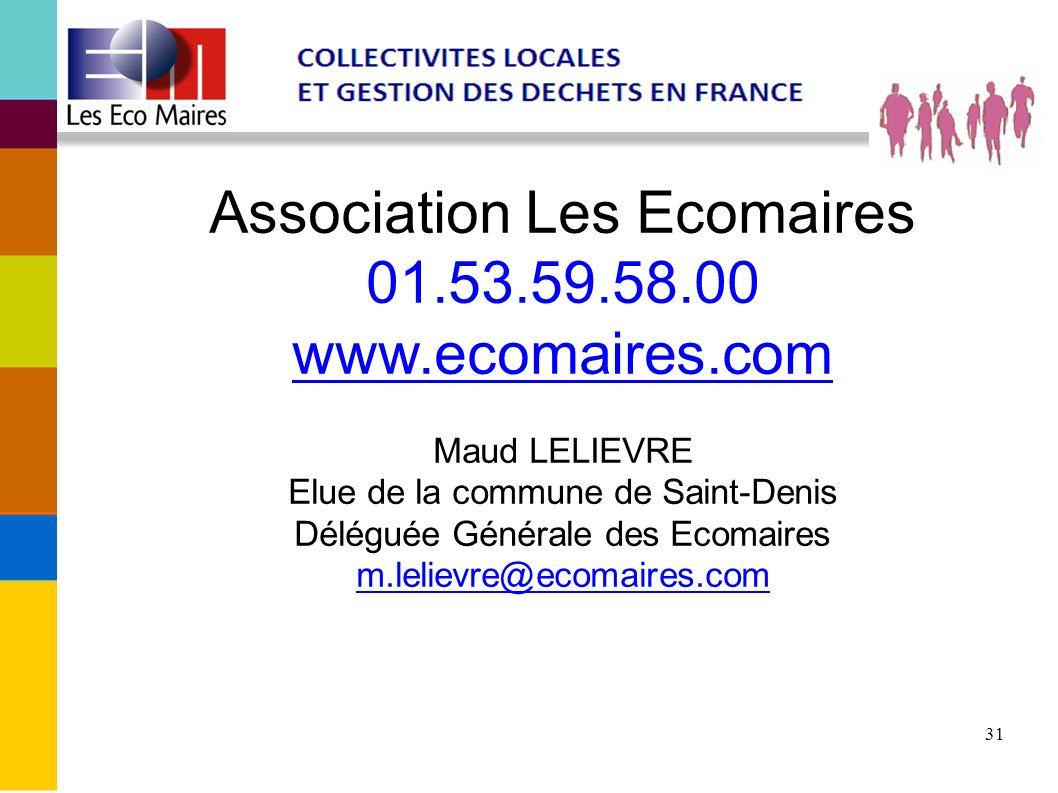 Association Les Ecomaires 01. 53. 59. 58. 00 www. ecomaires