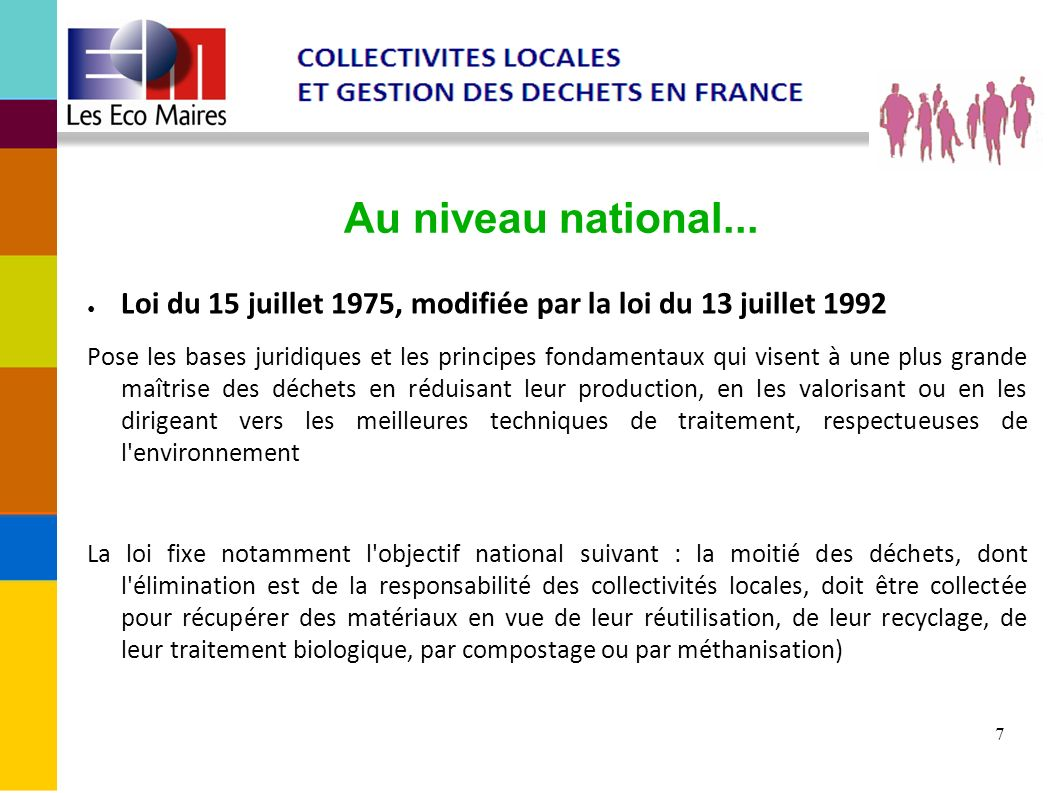 Au niveau national... Loi du 15 juillet 1975, modifiée par la loi du 13 juillet 1992.