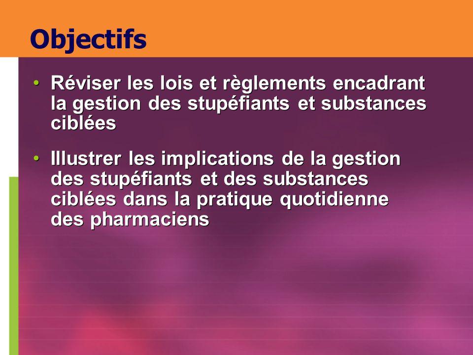 Objectifs Réviser les lois et règlements encadrant la gestion des stupéfiants et substances ciblées.