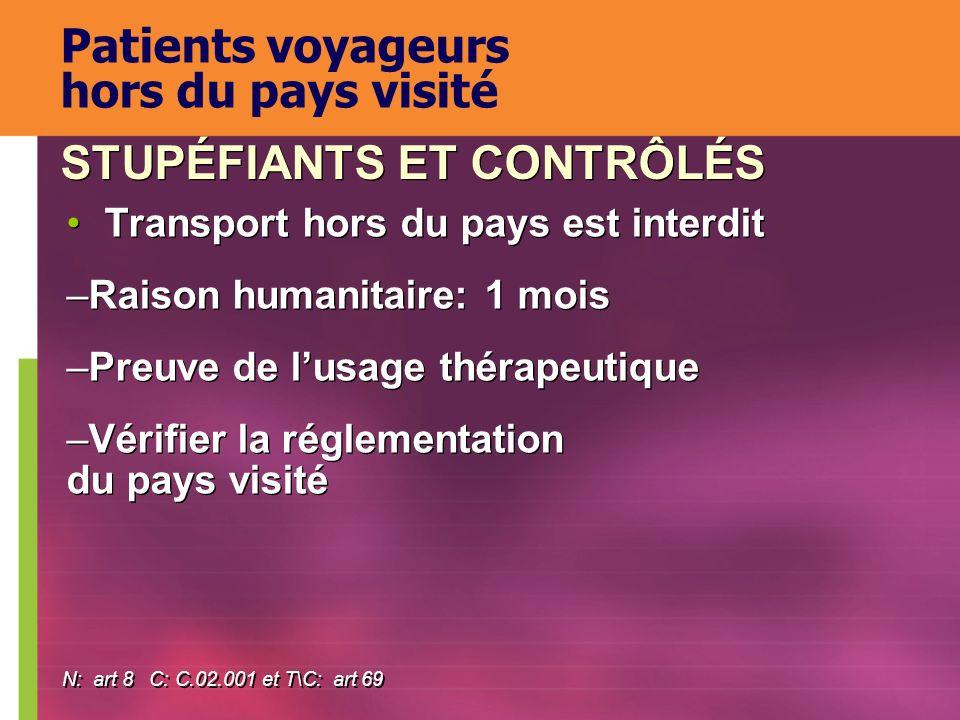 Patients voyageurs hors du pays visité
