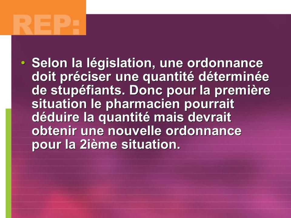 Selon la législation, une ordonnance doit préciser une quantité déterminée de stupéfiants.