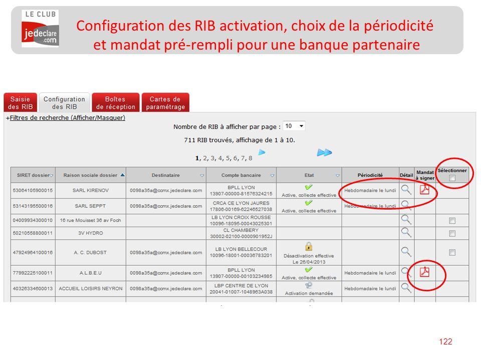 Configuration des RIB activation, choix de la périodicité et mandat pré-rempli pour une banque partenaire