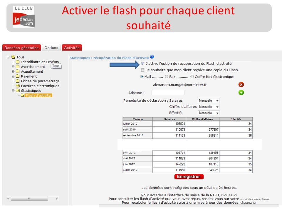 Activer le flash pour chaque client souhaité