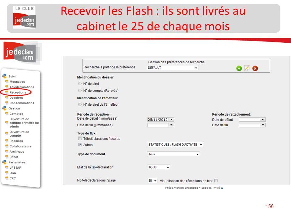 Recevoir les Flash : ils sont livrés au cabinet le 25 de chaque mois
