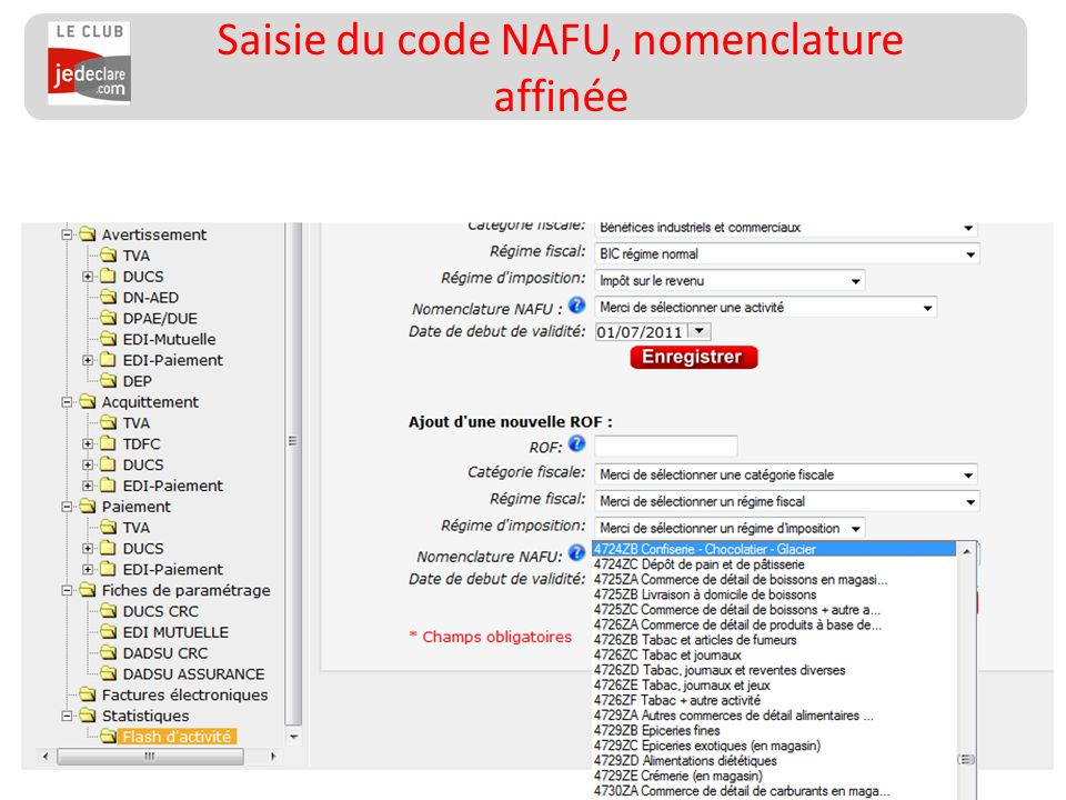 Saisie du code NAFU, nomenclature affinée