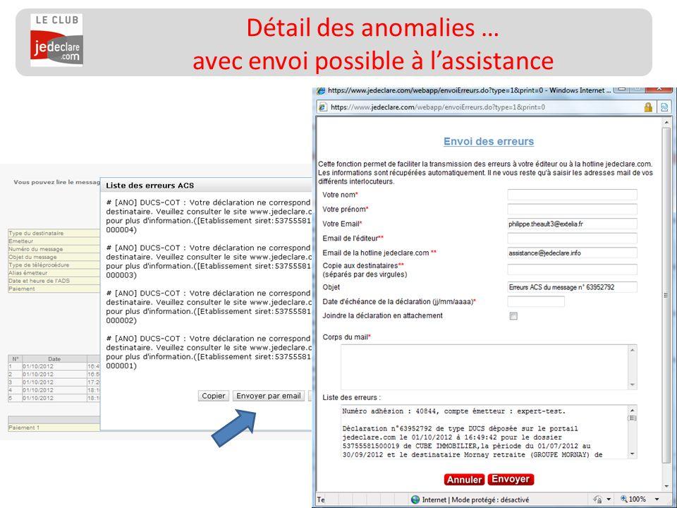 Détail des anomalies … avec envoi possible à l'assistance