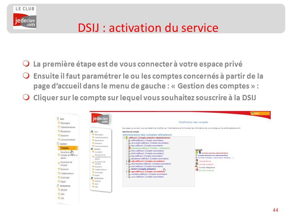 DSIJ : activation du service