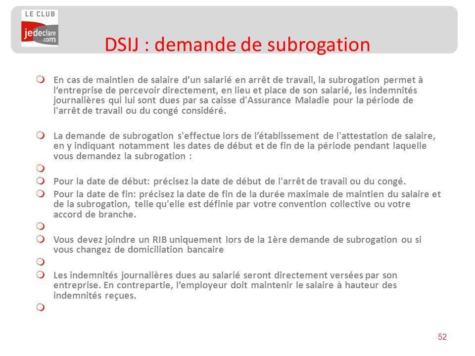 DSIJ : demande de subrogation