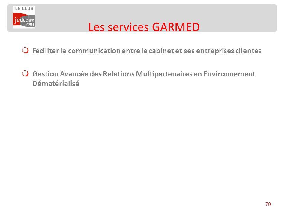 Les services GARMED Faciliter la communication entre le cabinet et ses entreprises clientes.