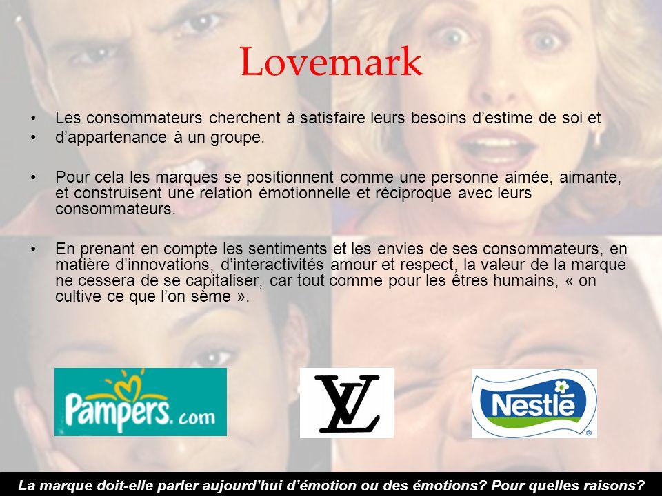 Lovemark Les consommateurs cherchent à satisfaire leurs besoins d'estime de soi et. d'appartenance à un groupe.
