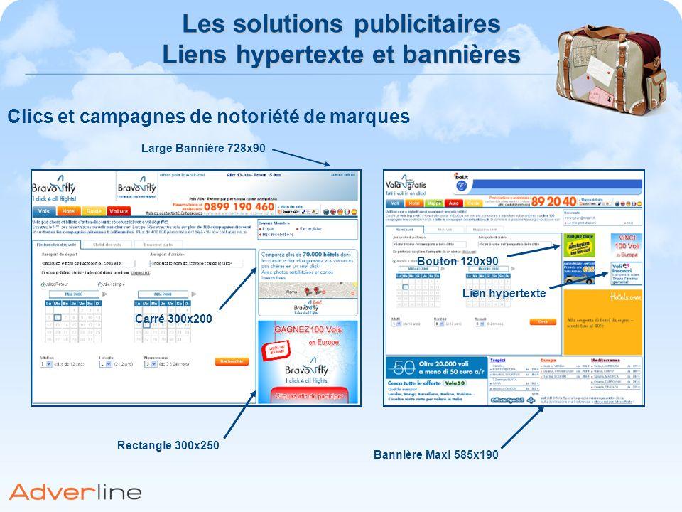Les solutions publicitaires Liens hypertexte et bannières