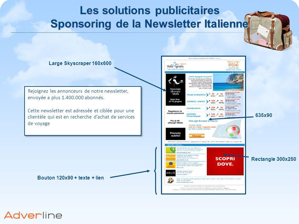 Les solutions publicitaires Sponsoring de la Newsletter Italienne