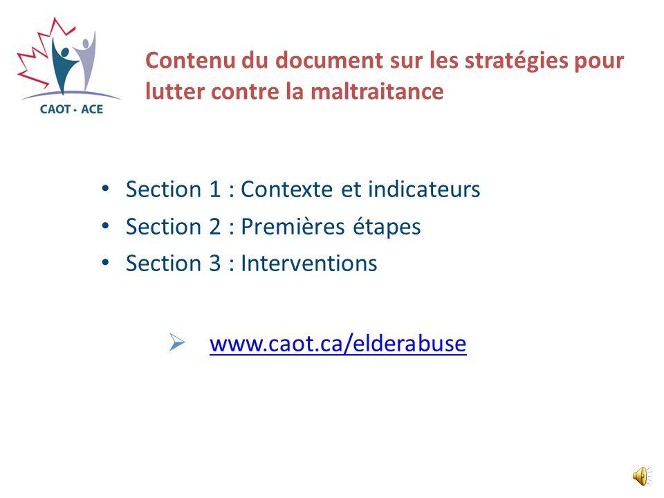 Section 1 : Contexte et indicateurs Section 2 : Premières étapes