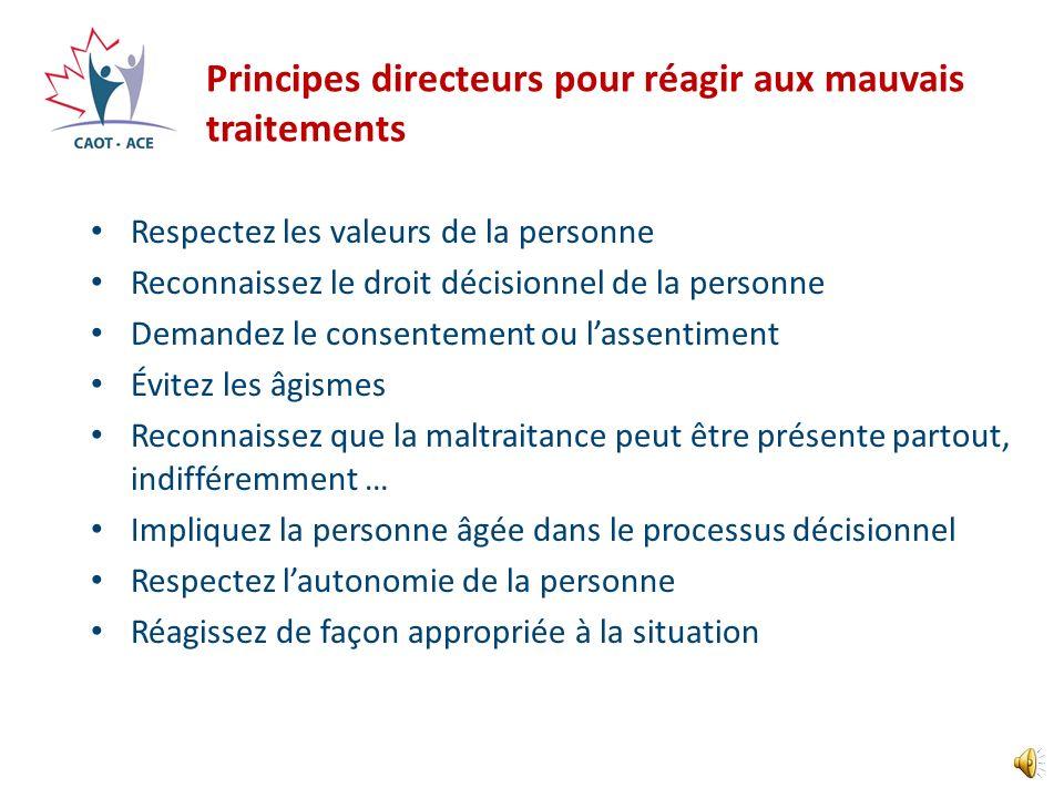 Principes directeurs pour réagir aux mauvais traitements