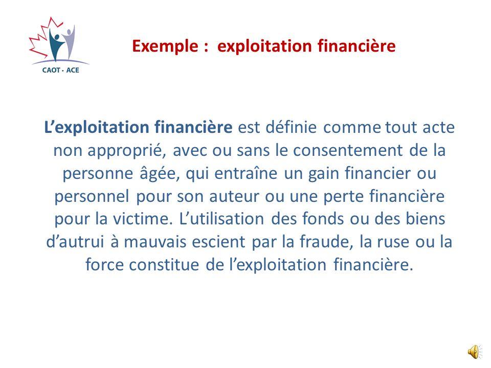 Exemple : exploitation financière