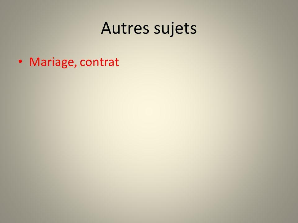 Autres sujets Mariage, contrat