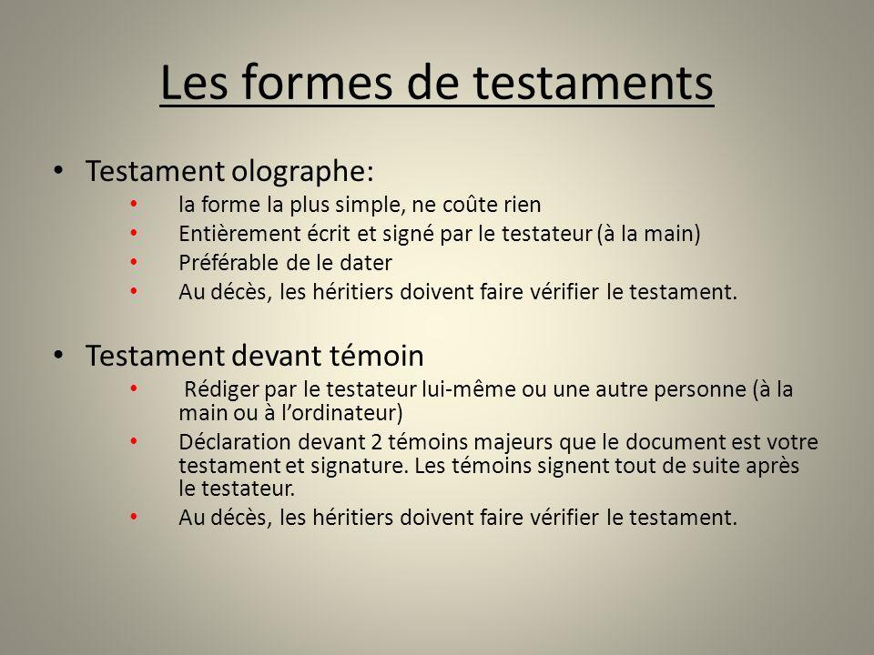 Les formes de testaments