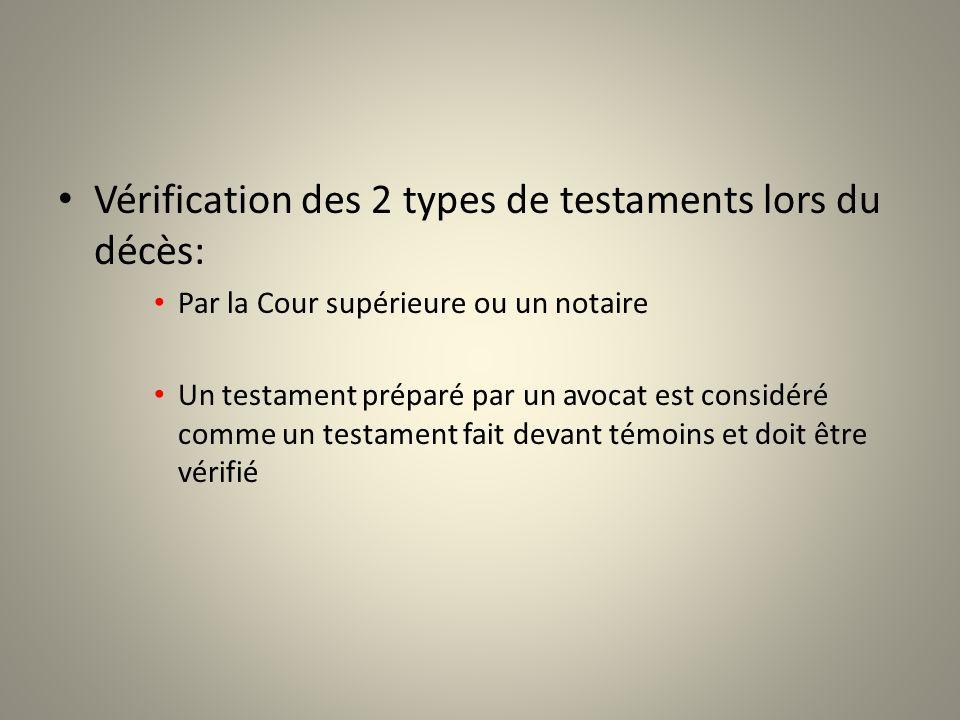 Vérification des 2 types de testaments lors du décès: