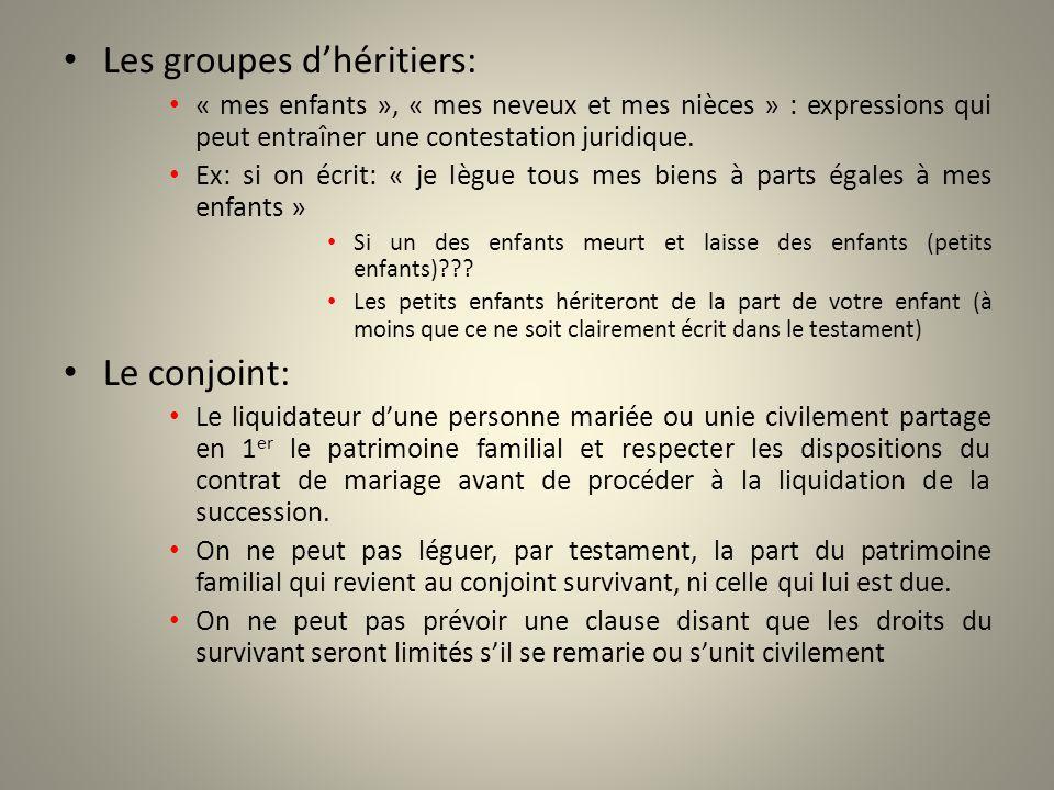 Les groupes d'héritiers: