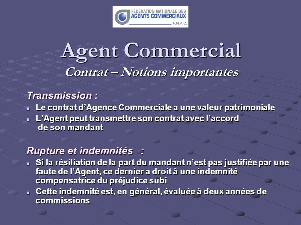 Agent Commercial Contrat – Notions importantes