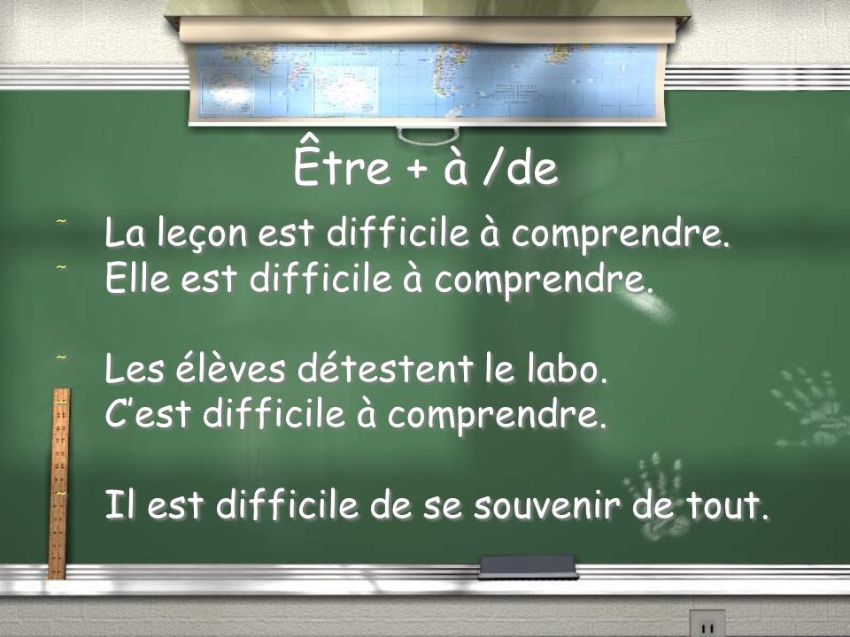 Être + à /de La leçon est difficile à comprendre.
