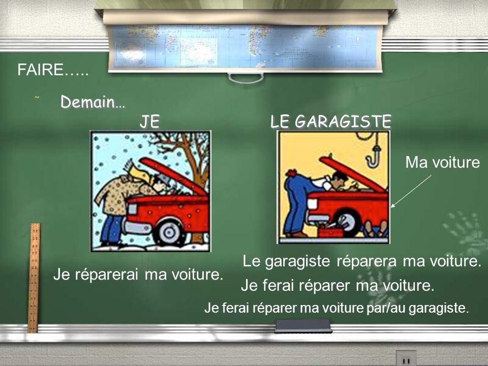 Le garagiste réparera ma voiture. Je réparerai ma voiture.