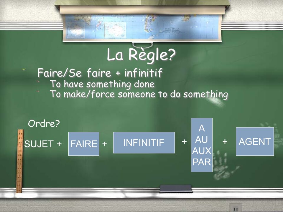 La Règle Faire/Se faire + infinitif To have something done