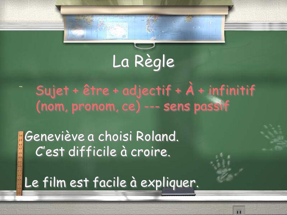 La Règle Sujet + être + adjectif + À + infinitif