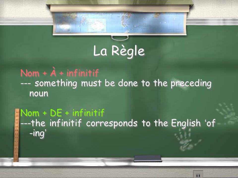 La Règle Nom + À + infinitif