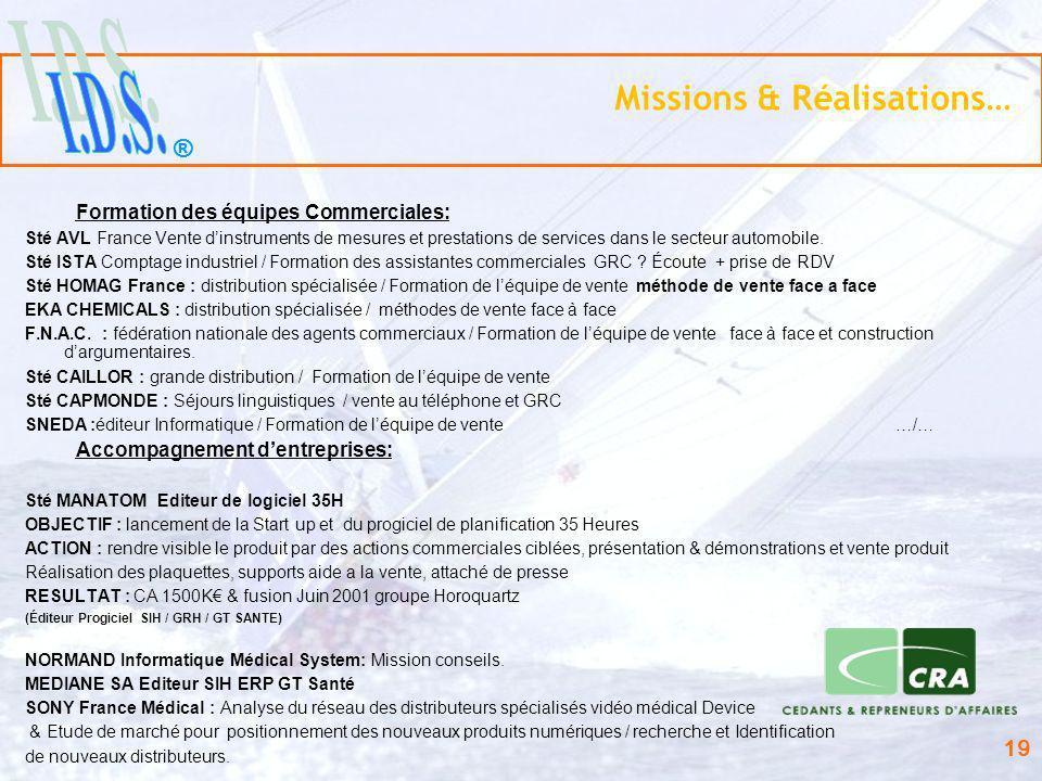 Missions & Réalisations…